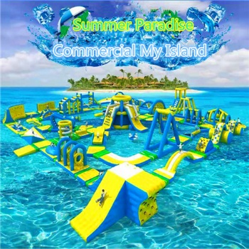 Commerical Popped Up Floating Island Aqua Park