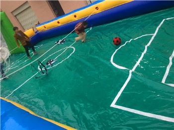 slippy football filed inflatable twist fixed