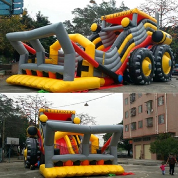mocked up bulldozer slide inflatable
