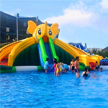 Moveable elephant water slide with pool