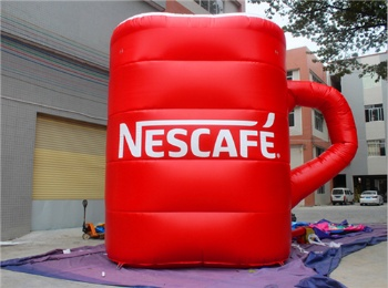 inflatable nescafe cup character for adverting