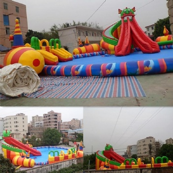 Animal inflatable dragon water pool slide