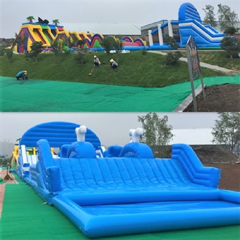 Inflatable obstacle race challenge courses